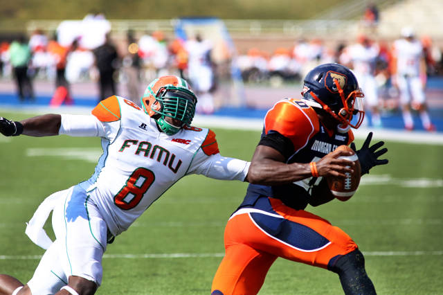 Denmark hunting down Morgan State's QB (Courtesy FAMU Sports Info)