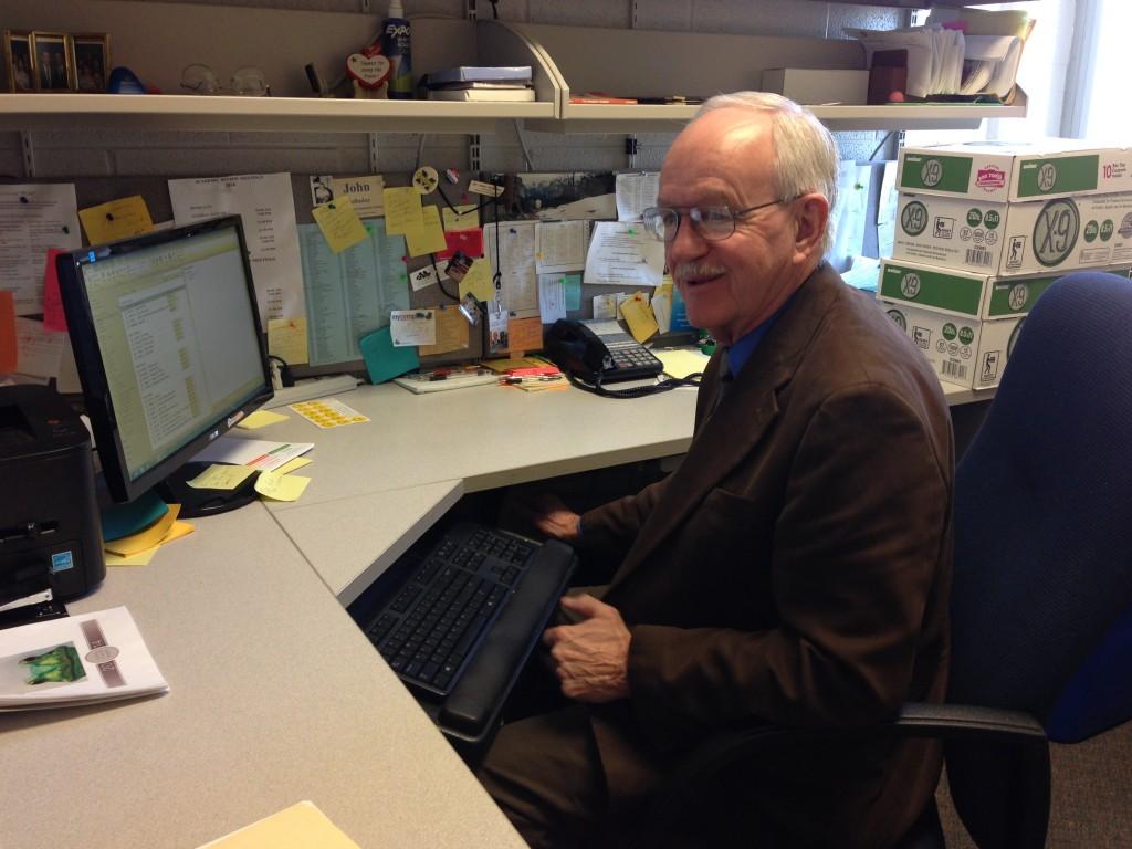 Retiring professor John 'Doc' Holladay at his desk.