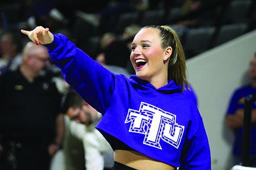 Tech's Senior dance team member Sarah Rose cheers on the men's basketball team at the Hooper Eblen Center on Jan 31.