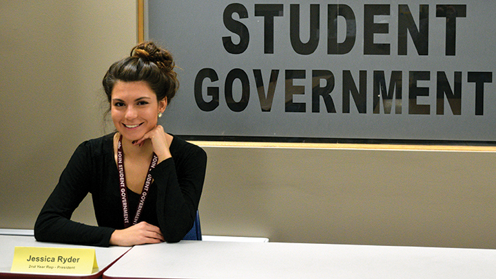 Jessica Ryder, newly elected president, poses in Student Government room located in the A building basement
