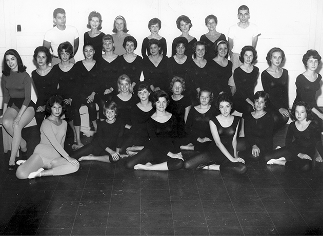 A group of early dancers who were under the instruction of the university's original instructor of dance Katie Planche Friedrichs are some of the many memories stored by Fellom.