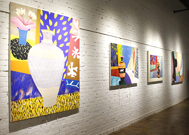 """Interior Affair No.19,"" ""Greek Vase, Reflected,"" ""Zeus & Athena"" and ""Big Lightning,"" by Michael Ledet are displayed during a public reception at HRAC. Ledet's artwork will remain at HRAC for the month of April."