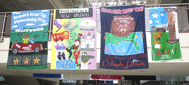 Above are the sheet signs decorated by teams in spirit of Homecoming Week. Events and competitions will  continue throughout the week.  The winner of the Sheet Signs competition will be announced during the game on Oct. 22.