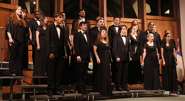 Southeastern's Concert Choir of male and female music majors, sung songs about angels and demons at their Angels and Demons choir concert, as a part of their choir class. The concert choir and woman's chorale each featured an instrument.