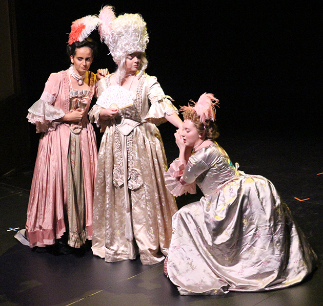 "Three student actresses, from left, Anne Labranche, Rachel Davis and Elizabeth Langley pretend to be over dramatic actresses  for a scene during  ""A Little Night Music."""