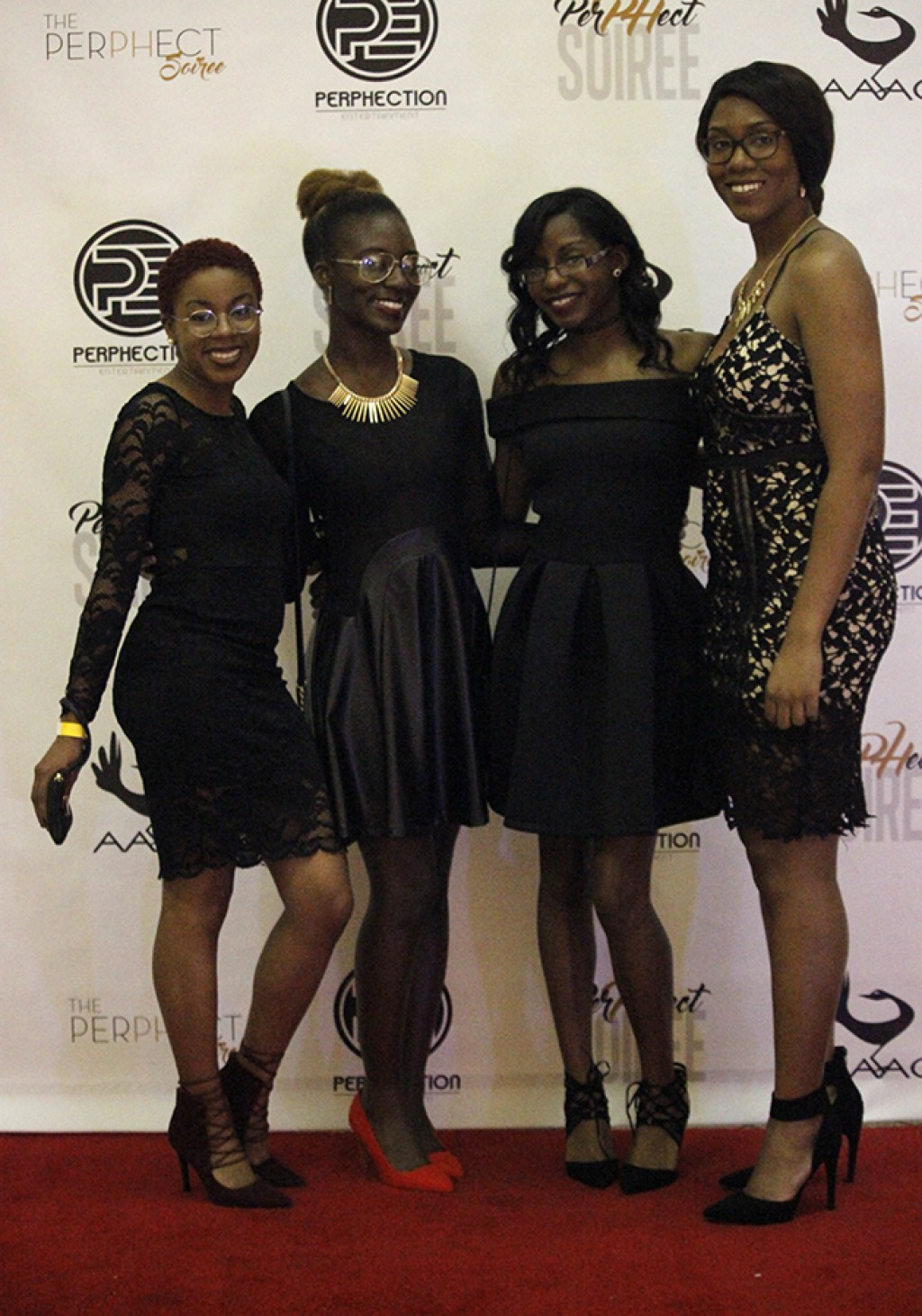 From left to right, Briana Brown, Kara Craighead, Tierney McCoy and Tierstene Dandridge posed for photos to ring in the beginning of AAAC's mixer.