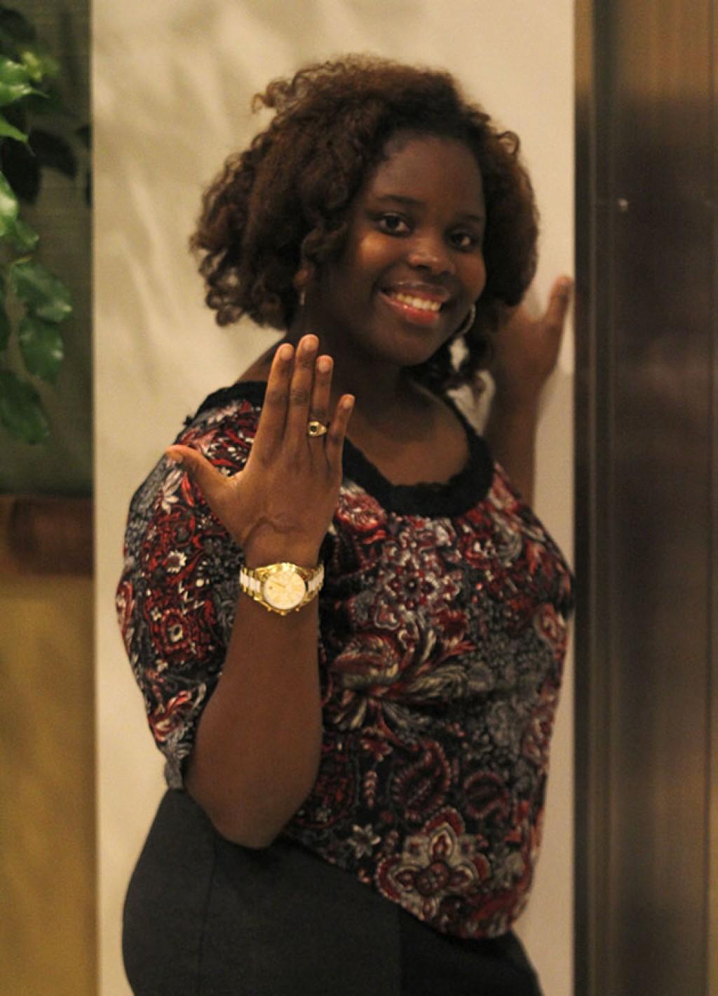 Will'nesha Johnson a senior psychology major showcases her ring.